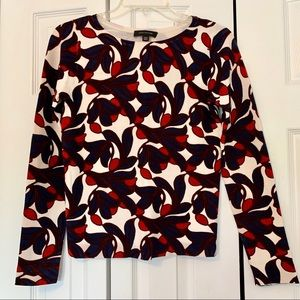 Ann Taylor cream and navy floral light sweater